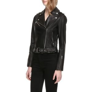 NWT Soia & Kyo Black Leather Moto Jacket